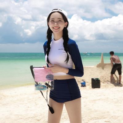 分体泳bj不漏背情侣zj可爱黑色两件套女童显(小)两件式宽松套装