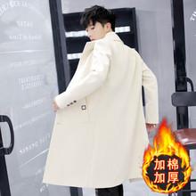 加棉韩款帅气bk3身秋冬季sd长款毛呢大衣男士过膝呢子外套褂