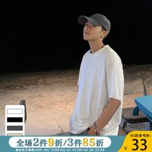 ONEbkAX夏装新yk韩款纯色短袖T恤男潮流港风ins宽松情侣圆领TEE