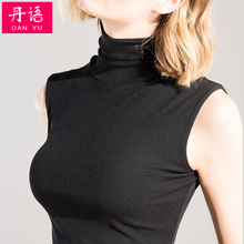 无袖网bl上衣女内搭so心薄式沙t恤砍袖高领蕾丝打底衫春夏装