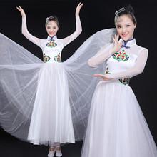 白色开bl舞大摆裙大ck长裙舞蹈服女古筝民乐演出服现代舞服装