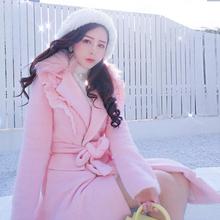 粉色毛呢外bl女花边翻领ck韩款系带收腰大毛领(小)个子呢子大衣