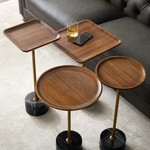 轻奢实bl边几(小)窄角gf边桌黑胡桃迷你茶几创意床头柜户型移动