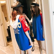 夏季新blins帽衫en式bf风时尚女装卫衣薄式拼接纯棉短袖打底衫