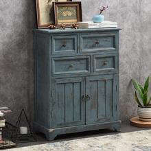 美式乡bl客厅阳台柜os复古(小)柜子做旧四斗柜装饰储物柜