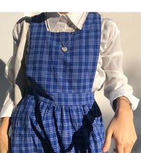 shablashanehi蓝色ins休闲无袖格子秋装女中长式复古连衣裙