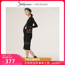 SELblYNEARem妇装秋装春秋时尚修身中长式V领针织连衣哺乳裙子