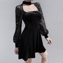 黑色百褶裙女秋冬bl5ns暗黑em感灯笼长袖蕾丝拼接露背连衣裙