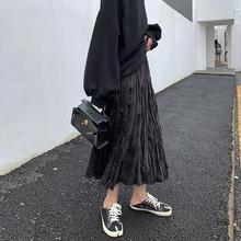 A7sblven半身es长式秋韩款褶皱黑色高腰显瘦休闲学生百搭裙子
