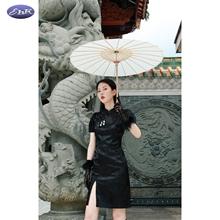 EhKbl中式旗袍 ti饰收腰泡泡袖少女复古连衣裙