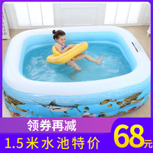 夏季婴bm宝宝家用游sb孩(小)游泳池(小)型折叠充气加厚宝宝戏水池