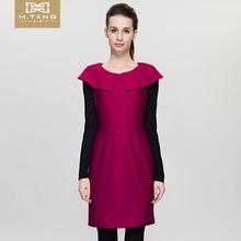 美之藤bm冬季新式女sb裙优雅时尚拼接修身连衣裙女M2144L08