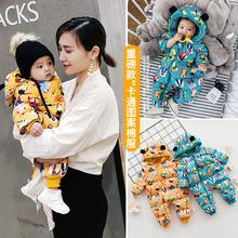 婴儿冬装加厚3bm暖八棉袄0vm4冬季连体衣1宝宝9六个月外出棉服