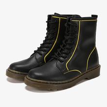 Dapbmne/达芙nt鞋柜冬个性拼色撞色缝线低筒马丁靴短靴女