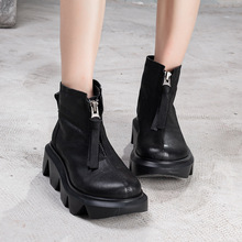 艺�原bm真皮女鞋2nt夏新品头层牛皮坡跟低筒凉靴子厚底拉链单靴