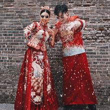 新郎接亲服敬bo3服结婚秀ca装新款男士龙凤褂中款礼服秀和服