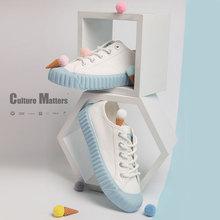 飞跃海bo蓝饼干鞋百ca女鞋新式日系低帮JK风帆布鞋泫雅风8326