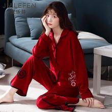 睡衣女bo春秋季纯棉ca居服全棉牛年大红色本命年中年妈妈套装