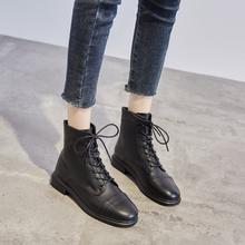 头层牛bo2020年fr季马丁靴女英伦风短靴加绒粗跟拉链女靴中跟