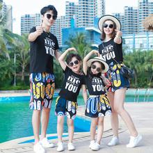 亲子装春装一家三bo5洋气家庭hu的母女母子装大码沙滩套装夏