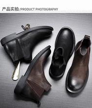 冬季新bo皮切尔西靴ng短靴休闲软底马丁靴百搭复古矮靴工装鞋