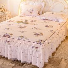 单件床bo0床罩纯棉yb棉床套防滑1.8米2.0m荷叶边床单保护罩