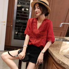 女红色bo衫短袖宽松me(小)衫2020年夏装新式潮货欧洲站