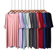 201bo夏季睡裙女ev莫代尔中袖短袖大码宽松薄式中长家居裙睡衣
