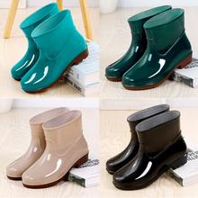 雨鞋女bo水短筒水鞋ng季低筒防滑雨靴耐磨牛筋厚底劳工鞋胶鞋