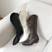 新式个bo软皮V字口ng仔长靴子欧美复古不过膝骑士马丁靴女鞋
