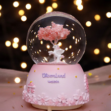 创意雪bo旋转八音盒ad宝宝女生日礼物情的节新年送女友