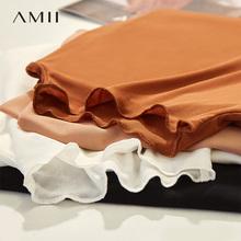 amibo极简主义旗dp装秋冬半高领内搭打底衫薄式网纱T雪纺长袖