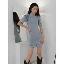 原创LboVEHEYit国潮改良款连衣裙女夏超a收腰显瘦紧身牛仔裙