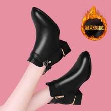 专柜正bo2021冬ks方跟粗跟百搭真皮时装靴时尚显瘦瘦