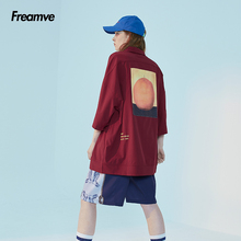 Frebomve自由km短袖衬衫国潮男女情侣宽松街头嘻哈衬衣夏