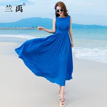 雪纺连bo裙2020km显瘦长式沙滩裙海边度假子超仙(小)个子