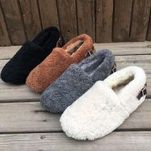欧洲站bo冬新式羊羔mo鞋女士包子鞋皮带扣豆豆鞋保暖毛毛鞋潮