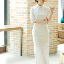 春夏中bo复古年轻式ol长式刺绣花日常可穿民国风连衣裙茹