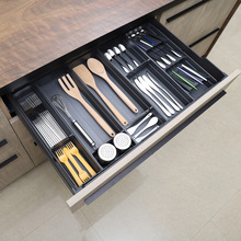 厨房餐bo收纳盒抽屉yi隔筷子勺子刀叉盒置物架自由组合可定制