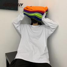 INSbo棉20韩国ti复古基础式纯色秋季打底衫内搭男女长袖T恤bf风