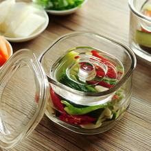 日本浅bo罐泡菜坛子ti用透明玻璃瓶子密封罐带盖一夜渍腌菜缸