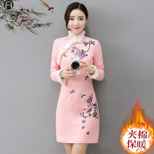 202bo秋冬季夹棉ti加厚保暖长袖修身羊毛呢改良款连衣裙子
