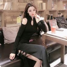 秋装2bo20新式性ti长袖修身显瘦高开叉连衣裙暗黑少女长式