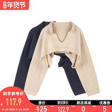 VEGbo CHANco罩衫女(小)众设计新式(小)心机短外套上衣披肩2021春装