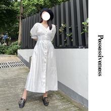 Posbressivress自制法式白色桔梗裙复古v领收腰大码女简约连衣裙