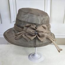 真丝遮br帽子渔夫帽re搭女士防晒太阳帽春秋式时尚桑蚕丝凉帽