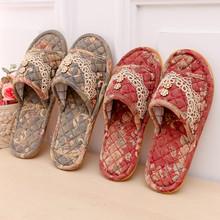 包邮欧款棉br布艺家用拖df室内男女情侣防滑木地板美容院拖鞋