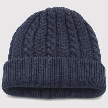 男士冬br毛线混纺加df帽中老年帽子套头护耳针织保暖帽老的帽