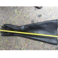 (小)型喷br机耐磨6寸df胶圈喷砂手套加长加厚带颗粒打沙手套