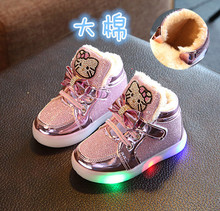 202br冬季新式(小)df靴1-2-3-4岁5女宝宝棉鞋婴宝宝亮灯公主皮鞋